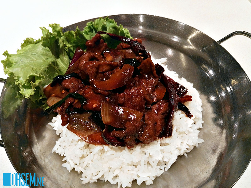 Dry Chili Beef with Rice
