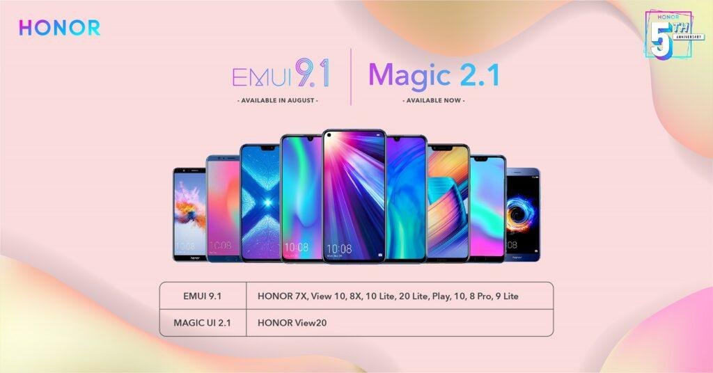 HONOR Announces Availability of Magic UI 2.1 and EMUI 9.1