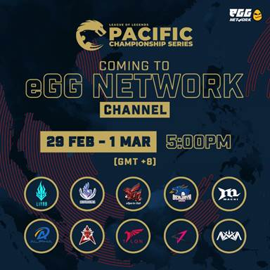 Catch Top League of Legends Action at the Pacific Championship Series (PCS) on eGG Network