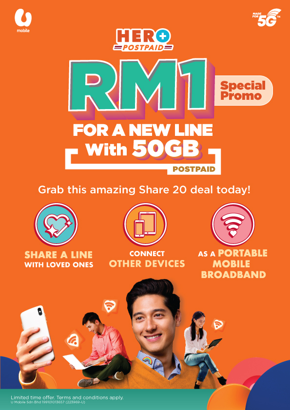 U Mobile Promo Enables Customers To Enjoy 50GB Postpaid Line For RM1 Per Month
