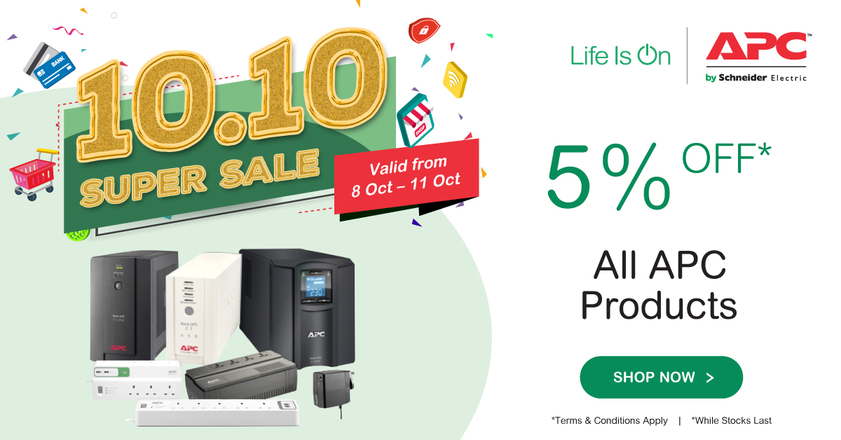 APC by Schneider RM100 Instant Vouchers on Lazada and Shopee 10.10 Super Sale