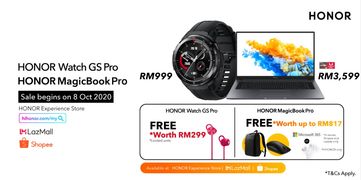 HONOR Malaysia Welcomes HONOR MagicBook Pro and Watch GS Pro