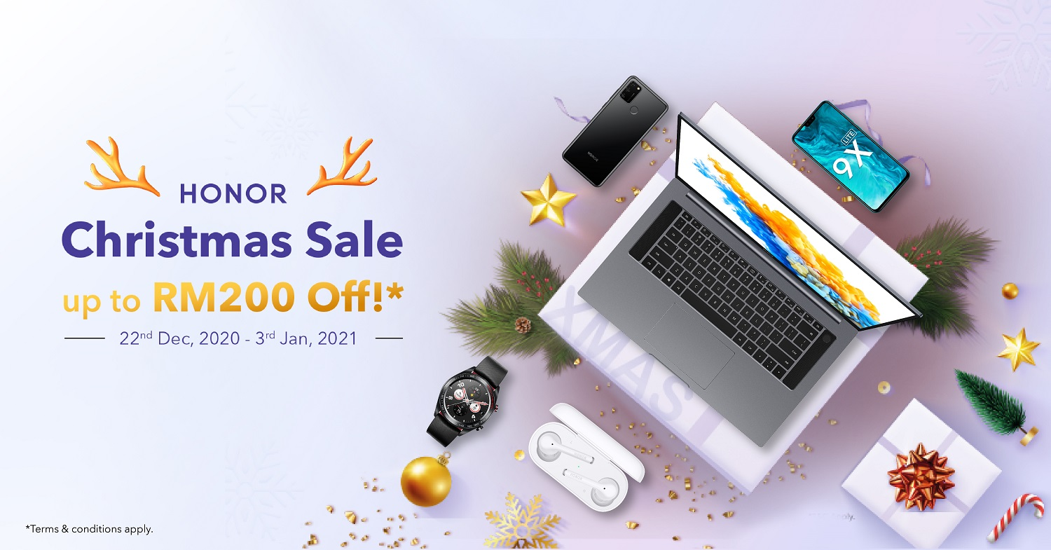 Get up to RM 200 off from HONOR Malaysia this Christmas