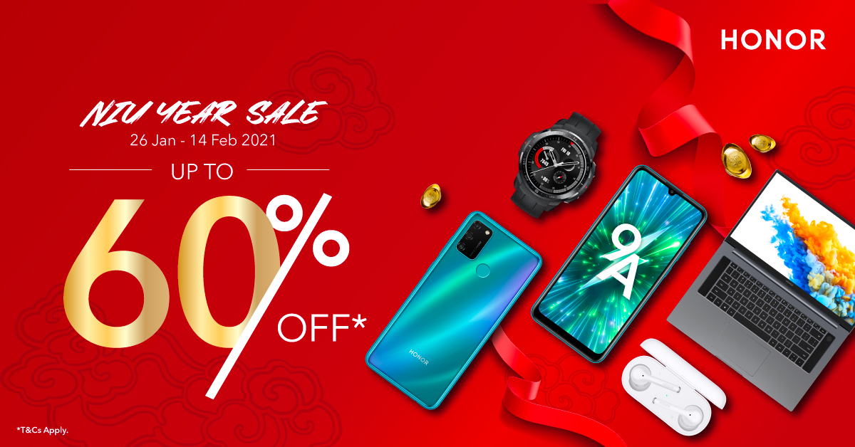 Get up to 60% off with the HONOR Niu Year Sale