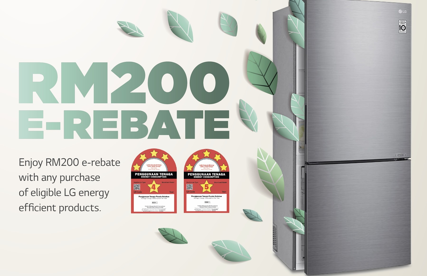 Get RM200 e-Rebate on New Energy-Saving LG Refrigerators