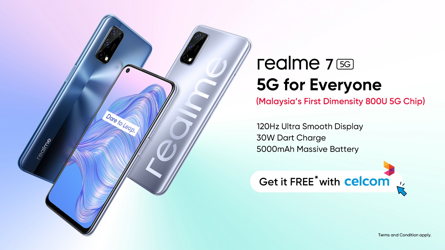 The realme 7 5G is Available Now With Celcom Mega