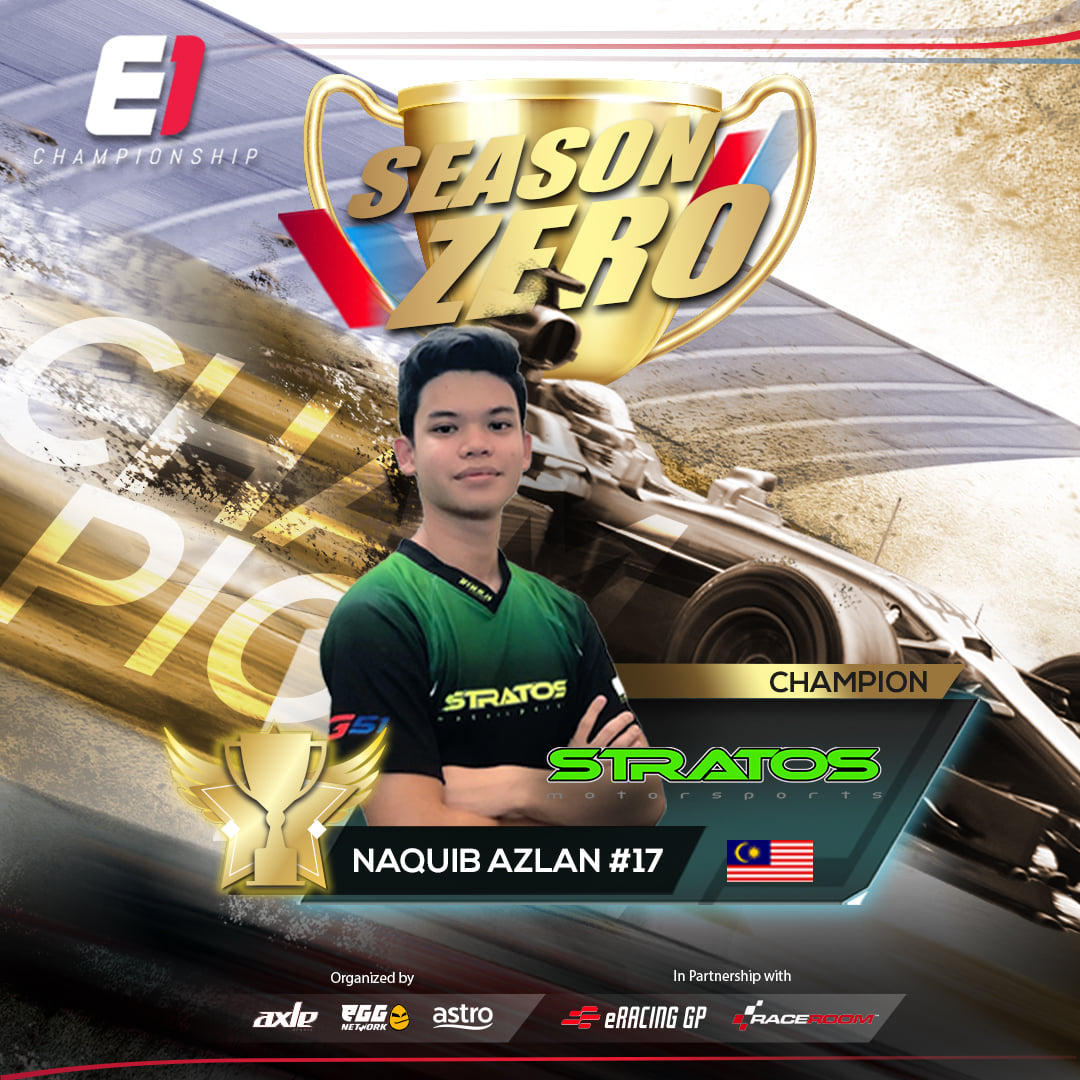 Sim-Racer Naquib Azlan and Stratos Motorsport crowned Driver and Team Champions at the E1 Championship Season Zero