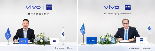 Spark Ni, Senior Vice President & CMO of vivo (left) and Joerg Schmitz, Head of ZEISS Consumer Products (right), announce global imaging partnership