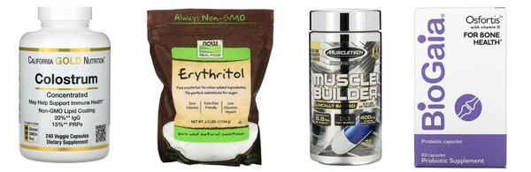 Concentrated colostrum capsule, erythritol, muscle builder and dietary supplement, in that order