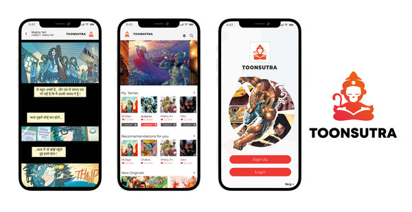 Screenshots from TOONSUTRA Webtoon Comic app ? 2021 Graphic India