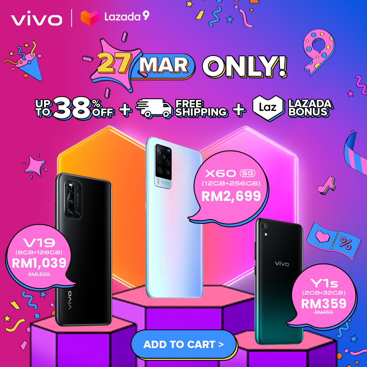 vivo Offers Smartphone Mega Sales on 27 March in Conjunction With Lazada's Birthday