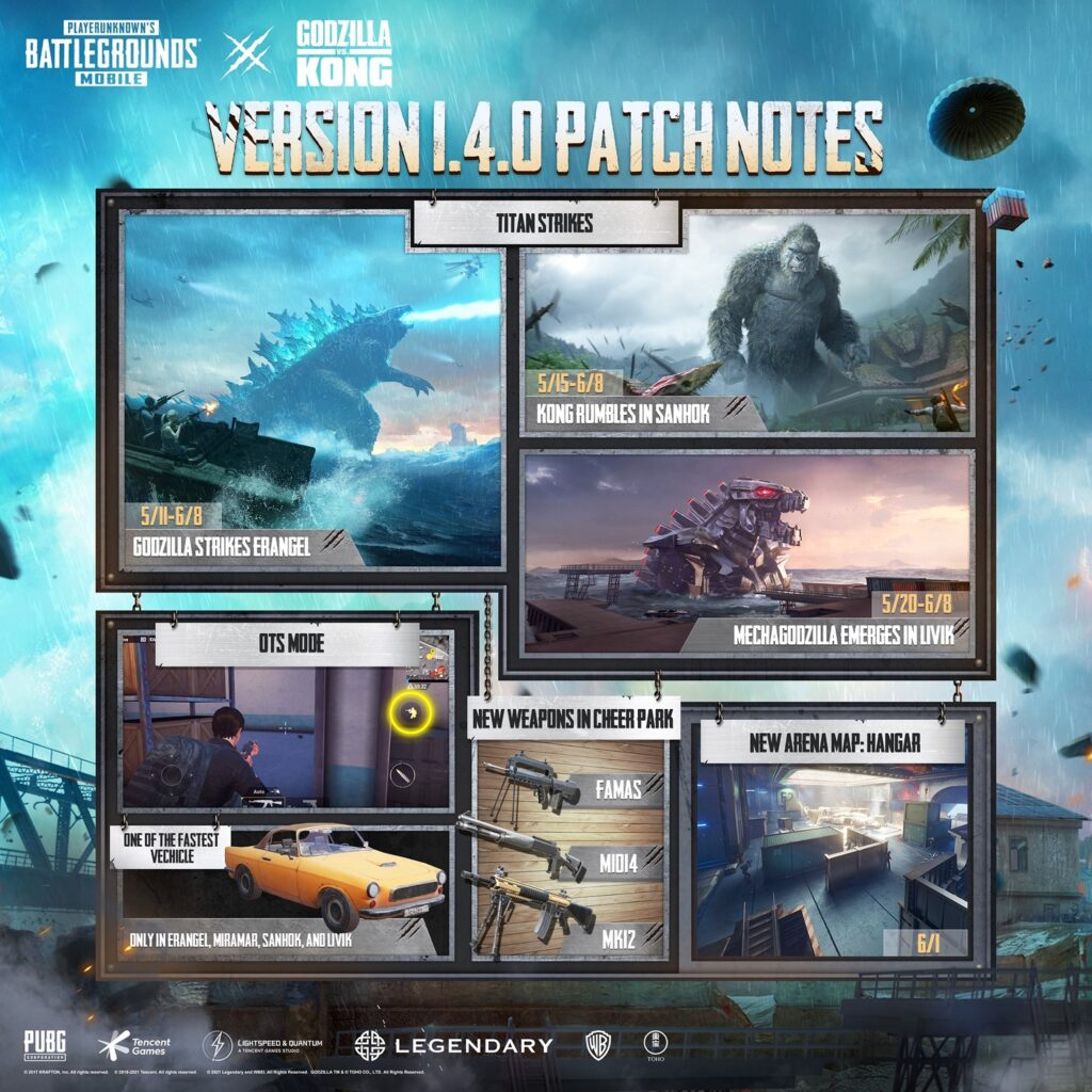 Godzilla vs Kong Comes to PUBG Mobile in Update 1.4