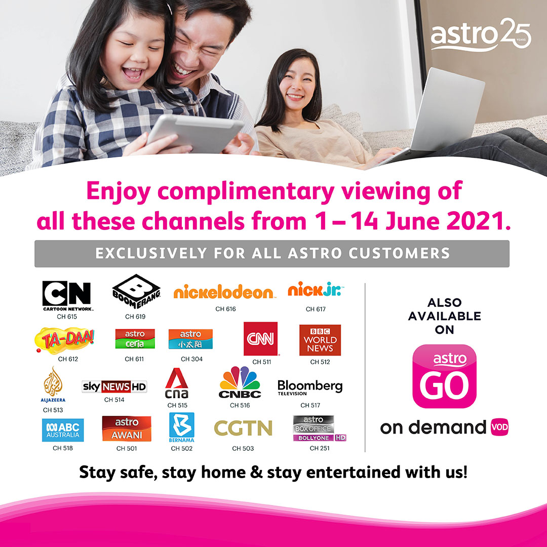Enjoy Complimentary Viewing of all Kids, News and BollyONE on Astro During Nationwide Lockdown