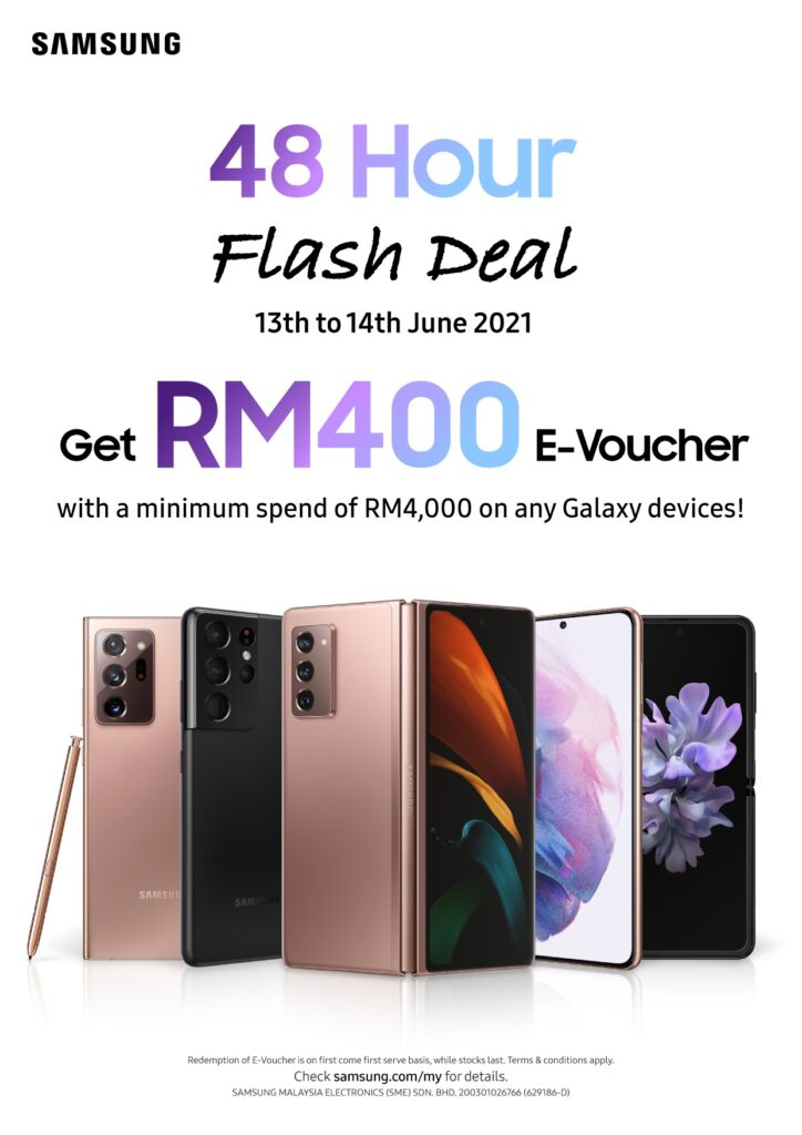 Be Rewarded with RM400 eVoucher With Samsung's 48 Hour Flash Deal