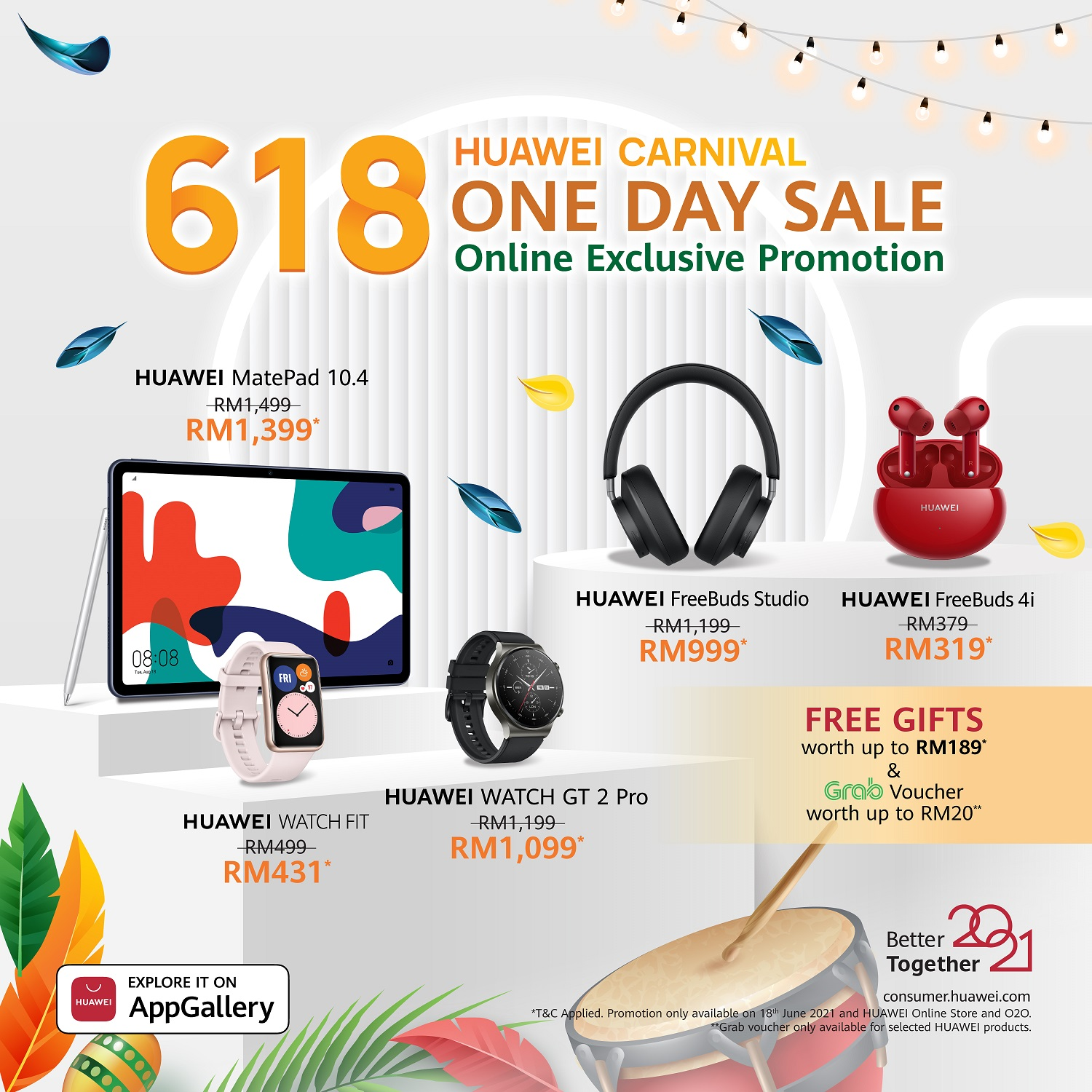 Enjoy Discounts and FREE Gifts Worth Up To RM189 At HUAWEI Carnival 2021