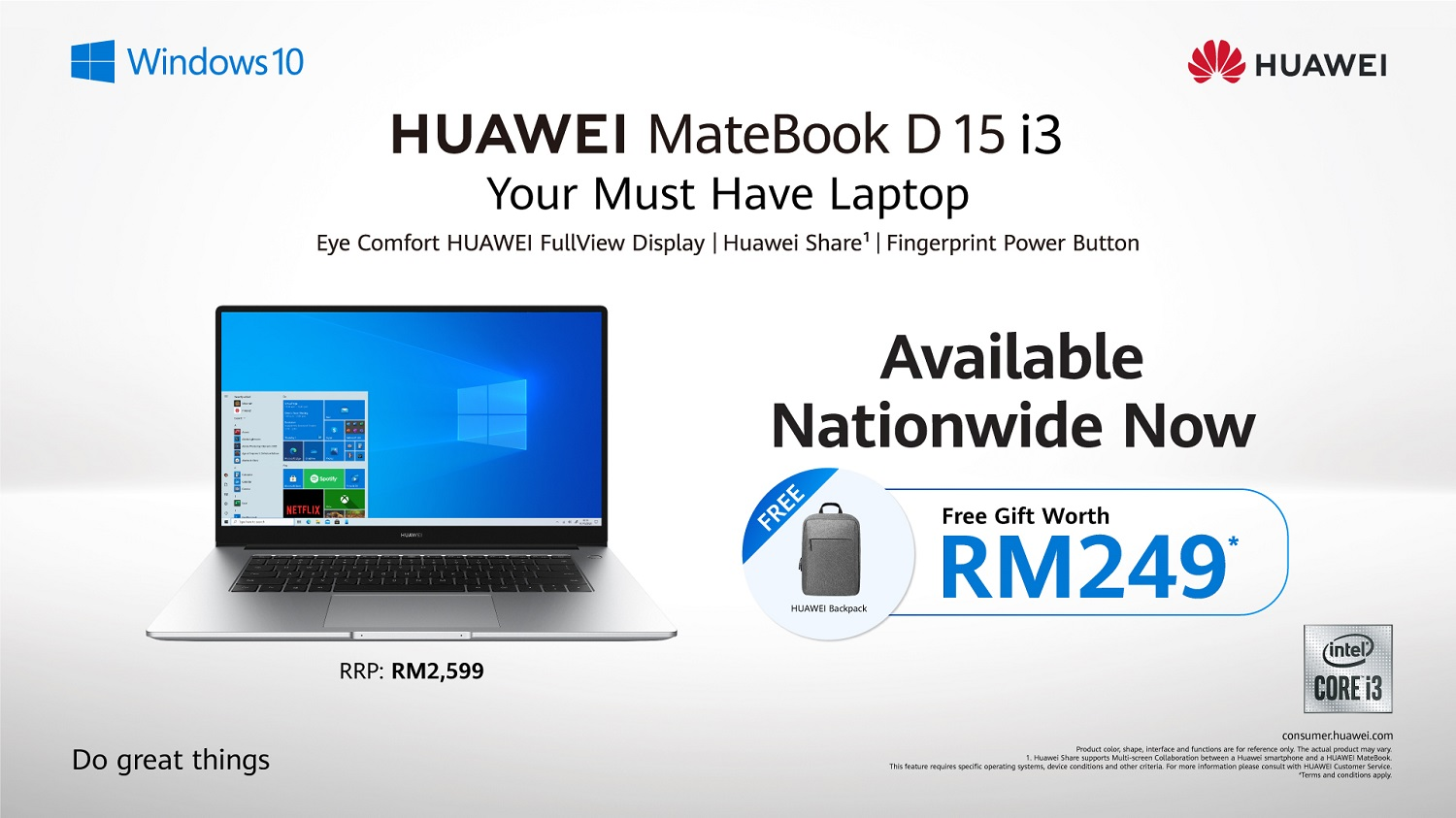 Save More With The HUAWEI MateBook D15 i3 And Receive Freebies Worth Up To RM249