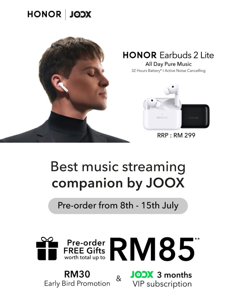 HONOR Earbuds 2 Lite Labelled The Best Music Streaming Companion by JOOX