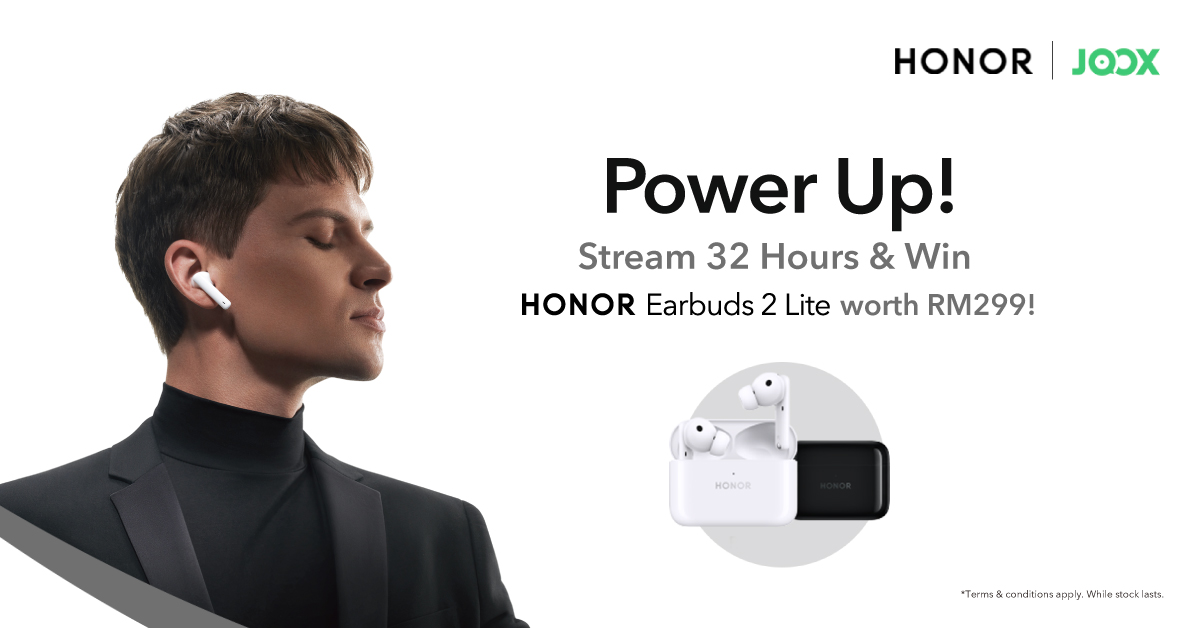 Stream for 32 hours on JOOX to win yourself an HONOR Earbuds 2 Lite with Power Up with JOOX x HONOR!