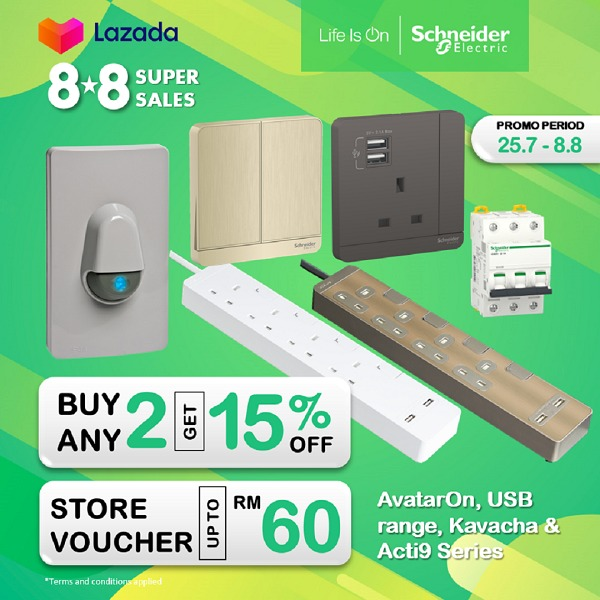 Schneider Electric Offers Discounts and Store Vouchers at Shopee 8.8 Brands Festival and Lazada Super Sales