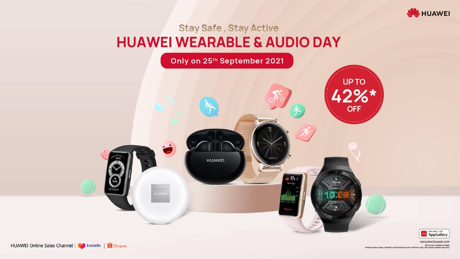Save More On Your New HUAWEI Wearable and Audio Gadgets on 25th September