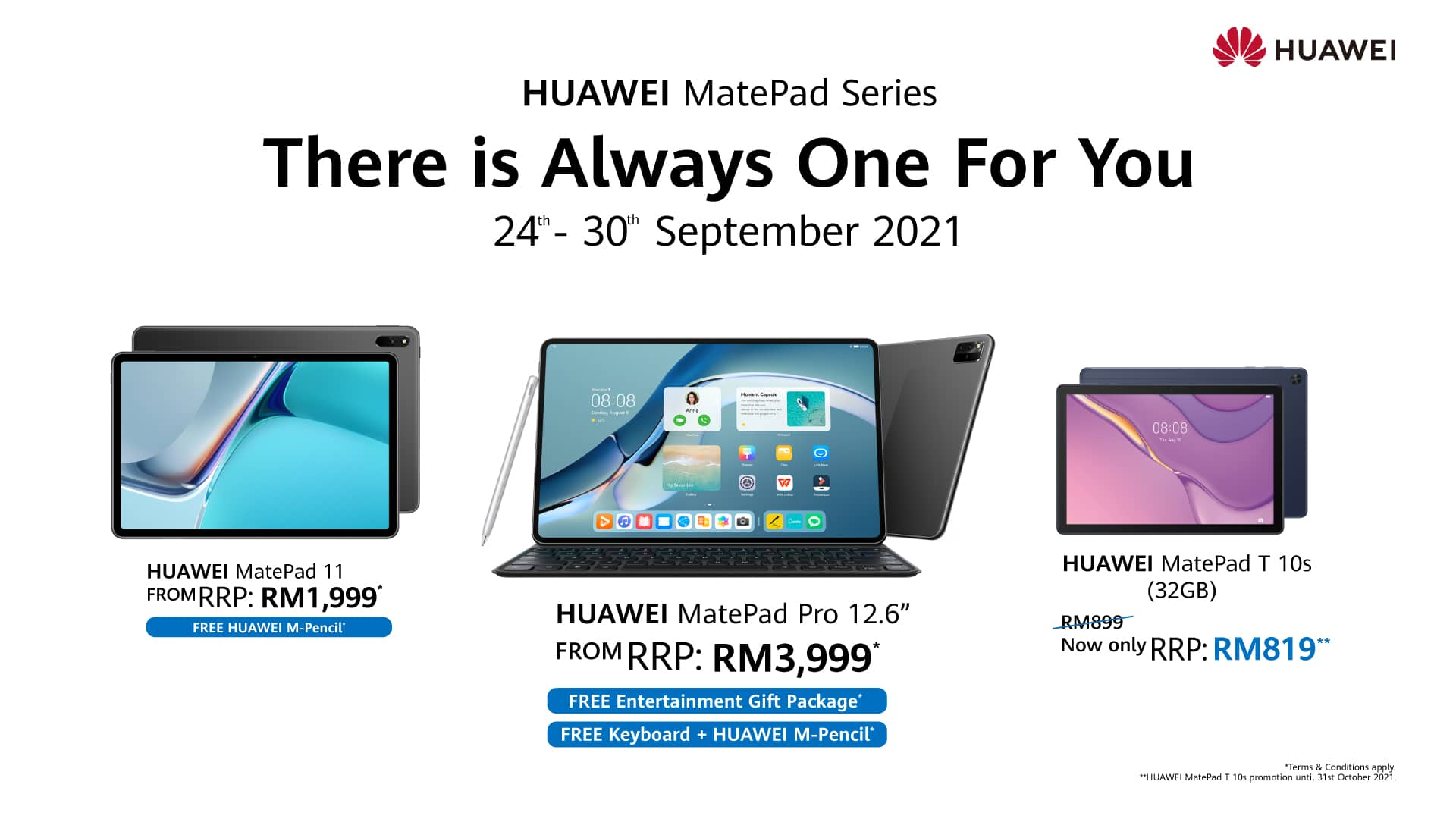 Get Free Gifts With Every Purchase of HUAWEI MatePad Series Starting From 24 September 2021